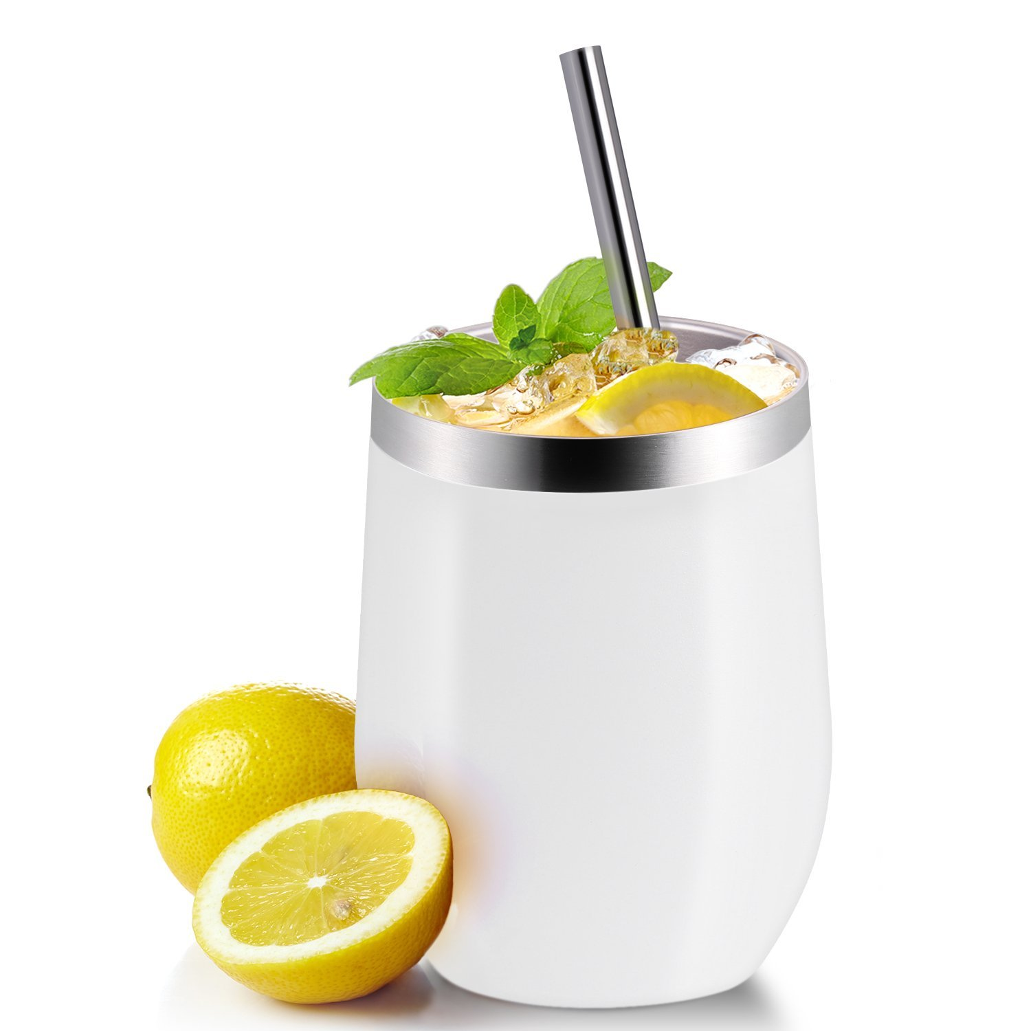 Drinks 2 Sets Champagne Cocktails GRIND WHITE Stainless Steel Tumbler Cup with Lids and Straws for Wine Coffee Skylety 12 oz Double-insulated Wine Tumbler