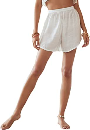 SweatyRocks Women's Casual Solid Elastic High Waist Summer Beach Cover Up Shorts