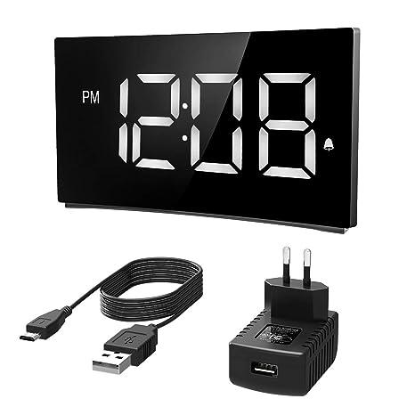 Holife Despertador Digital, Reloj Despertador Digital con Pantalla Curvada, con Enchufe de Carga,