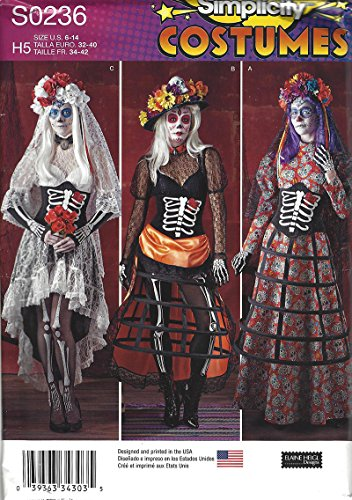 Simplicity Costumes S0236 Misses Costumes Halloween Catrina Size 6-14 -