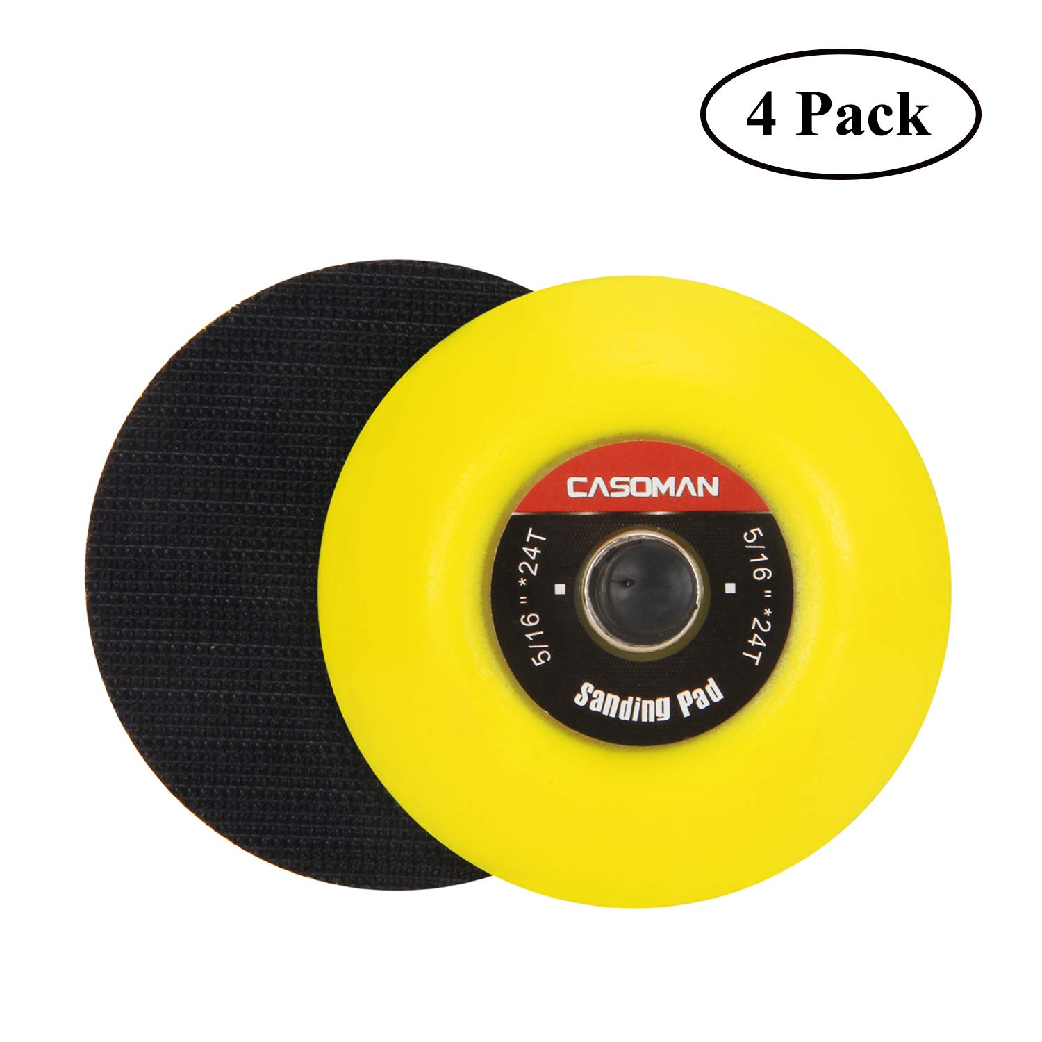 4 PCS Set CASOMAN 3-Inch Dual-Action Hook /& Loop Fastener Flexible Backing Plate 3// 75mm Polishing Pad with 5//16-24 Threads