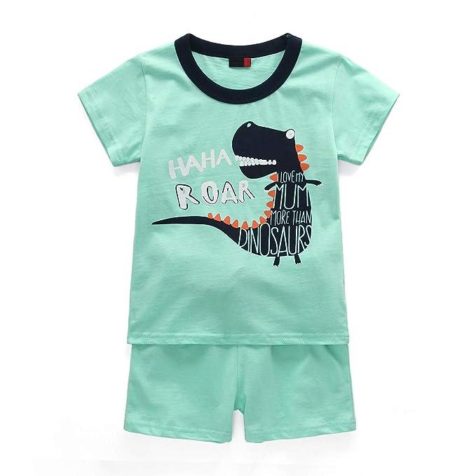 1bb8d73a13 HIKIDS - Pijama Corto para niño - Pijamas de Manga Corta Verano para Niños  - Pijama Dos Piezas Summer niño - Pijamas de Manga Corta para niños  Dinosaurio ...