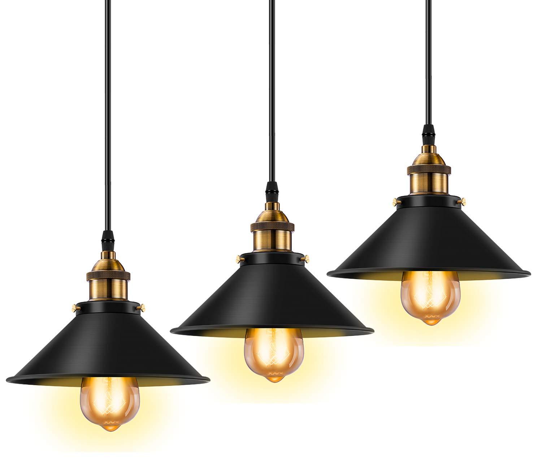 Licperron industrial pendant light e26 e27 base vintage hanging pendant lights retro pendant light fixture home kitchen lighting 3 pack amazon com