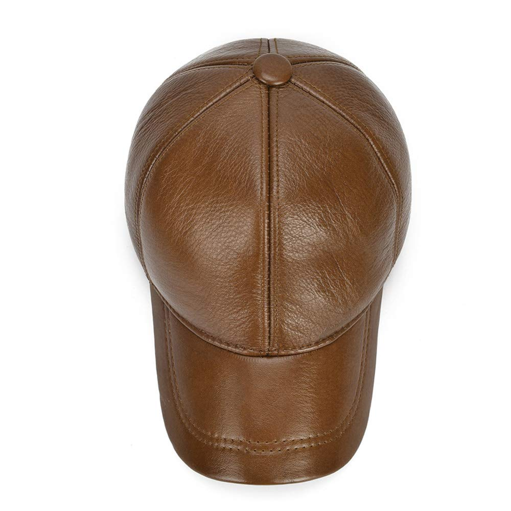 Color : Brown, Size : 56-60CM ZUAN Winter Leather Men Baseball Warm Ear Protection Cowhide Hat Tangible Cowhide Hat Outside Dad Baseball Cap