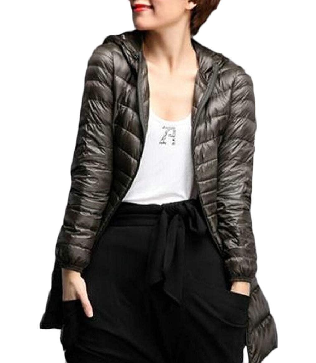 3 pujinggeCA Women's Hooded MidLength Down Jacket Coat Casual Lightweight Outerwear