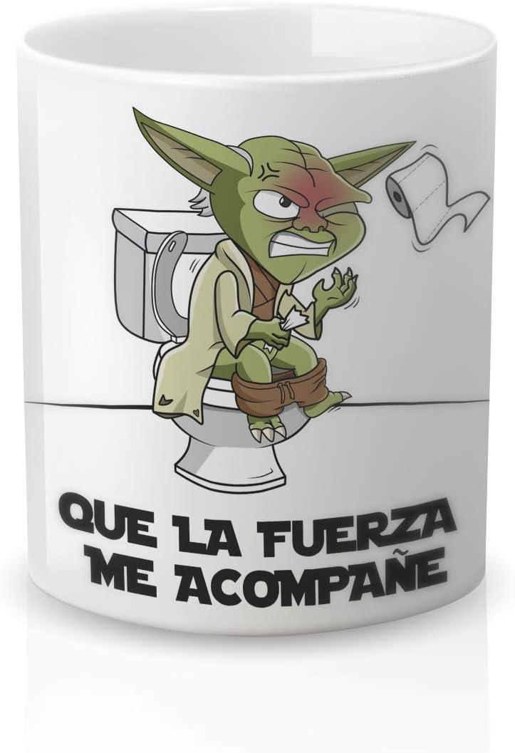 Yoda Star Wars. Yujuuu! Resistente 100/% al microondas y lavavajillas Taza con Frase Que la Fuerza me acompa/ñe Taza cer/ámica Original Amigos