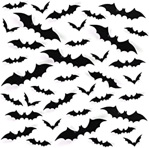 LOVEINUSA 120PCS 3D Bat Stickers, Halloween Party Supplies Waterproof Scary Bat Wall Decals DIY Home Window Decor, Removable Bat Stickers for Indoor Outdoor Halloween Wall Decorations