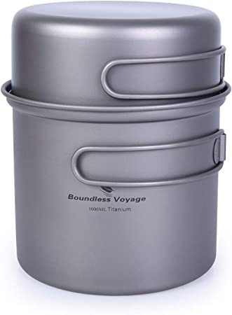 Boundless Titanium Pot Bowl con empuñadura Plegable Juego de vajilla de Cocina de Picnic para Acampar al Aire Libre