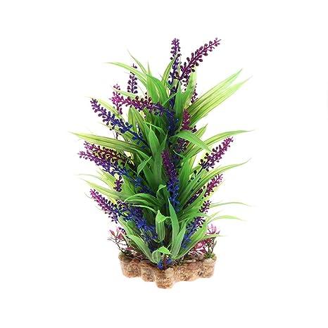 Daxibb Acuario con base de cerámica para acuario, diseño de plantas acuáticas