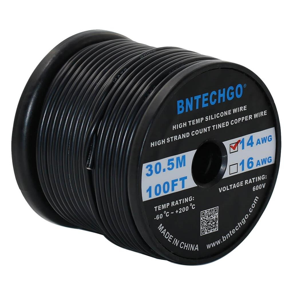 BNTECHGO 14 Gauge Silicone Wire Spool Black 100 feet Ultra Flexible High Temp 200 deg C 600V 14 AWG Silicone Rubber Wire 400 Strands of Tinned Copper Wire Stranded Wire for Model Battery Low Impedance