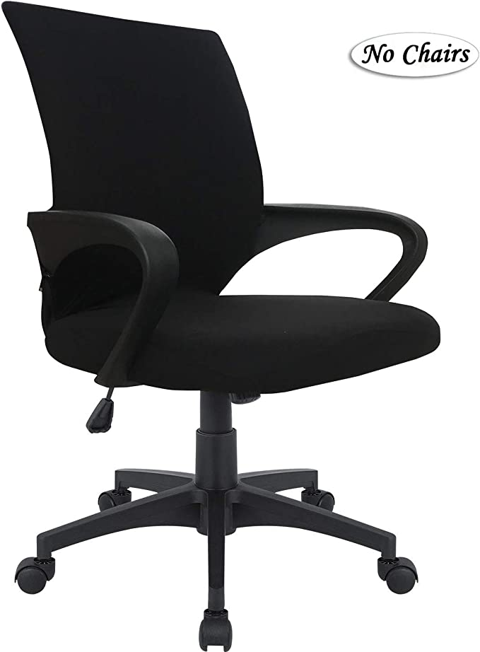 MOCAA Office Chair Cover Computer Ergonomic Chair Mid Back Swivel with Armrest Chair Cover (Chair not Included) (Black, Medium)