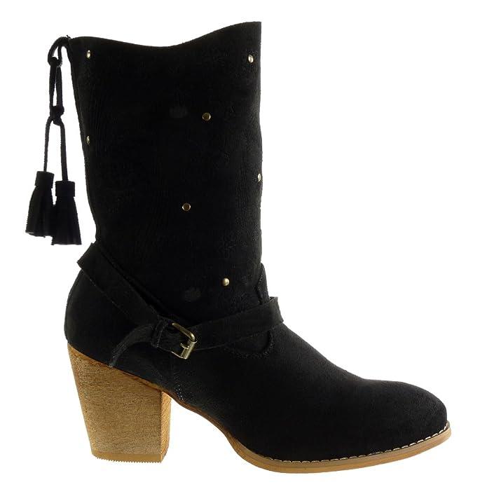 Angkorly - Zapatillas de Moda Botines santiags - Cowboy - Vaquero Cavalier Flexible Mujer Flores Bordado Fleco Talón Tacón Ancho Alto 7 CM - Negro M853 T ...