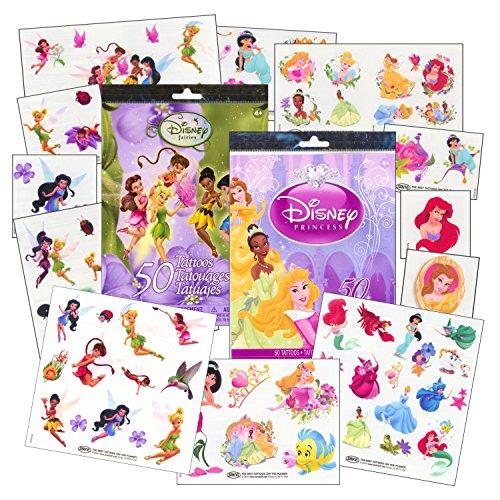 Disney Tinkerbell Tattoos - Disney Girls Tattoos Party Pack ~ Disney Princess & Disney Fairies Tattoos - 100 Assorted Temporary Tattoos ~ Cinderella, Ariel, Tiana, Belle, Tinkerbell, and More!