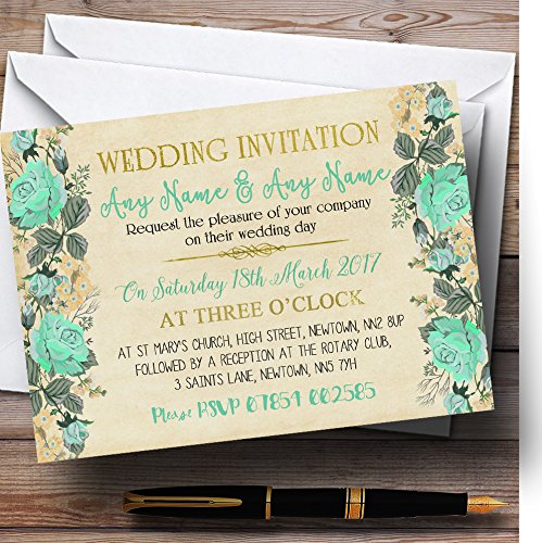 Vintage Mint Green & Gold Watercolour Personalized Wedding Invitations