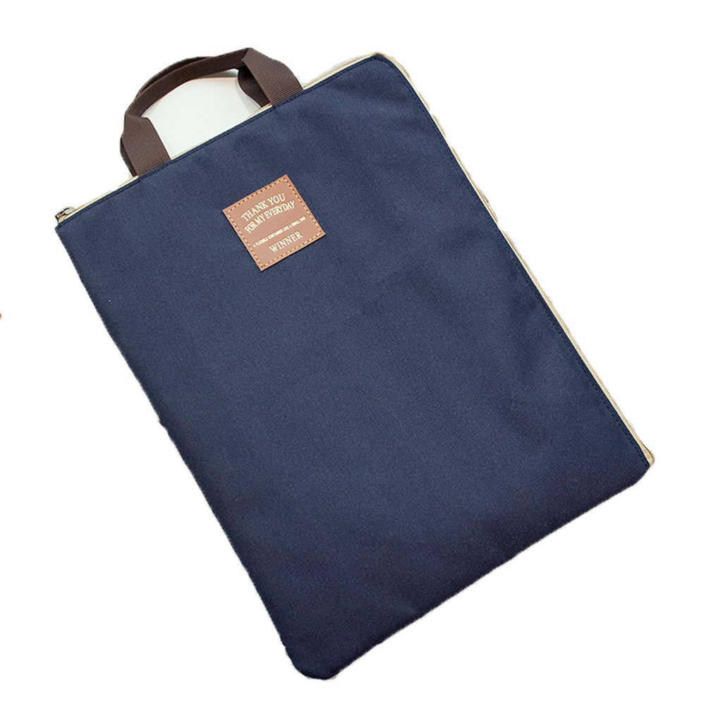 KARRESLY Waterproof A4 Document Organizer Bag Tote Holder File Folder iPad Bag for Men Women(Navy Blue)