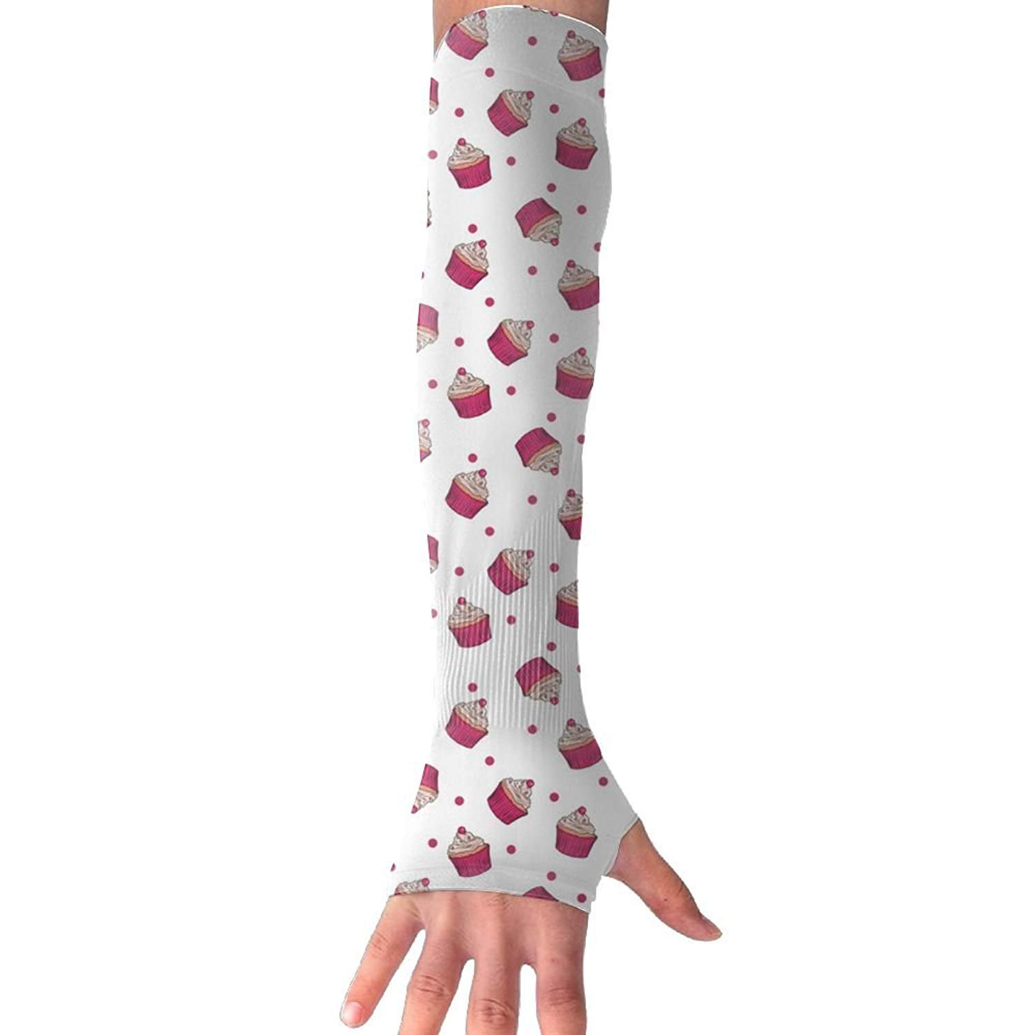 Unisex Cup Cake Sunscreen Outdoor Travel Arm Warmer Long Sleeves Glove