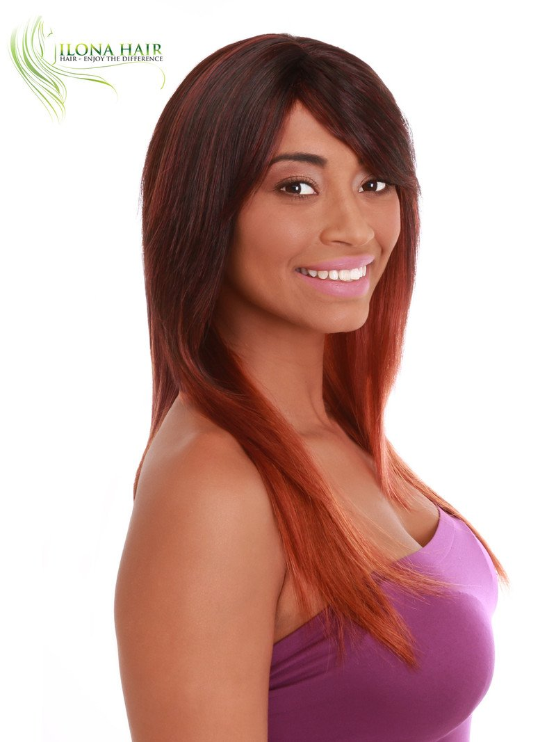 Part of our African-American collection. Brown Red Ombre Color F3240A Chopped Cut Style peluca (DXR4335) : Beauty