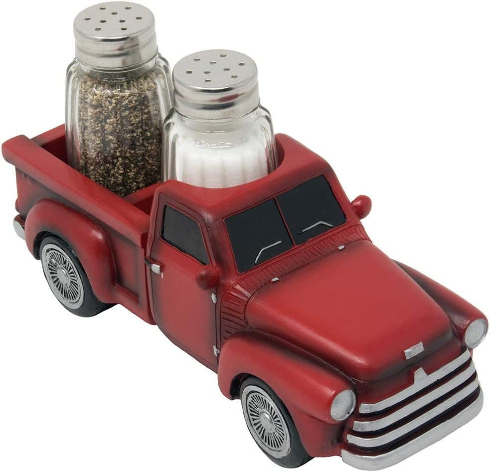 Vintage Pickup Truck Salt and Pepper Shaker Set or Decorative Spice Rack in Antique Look for Farm Country Kitchen Décor Figurines and Rustic Bar Decorations or Classic Gifts for Farmers