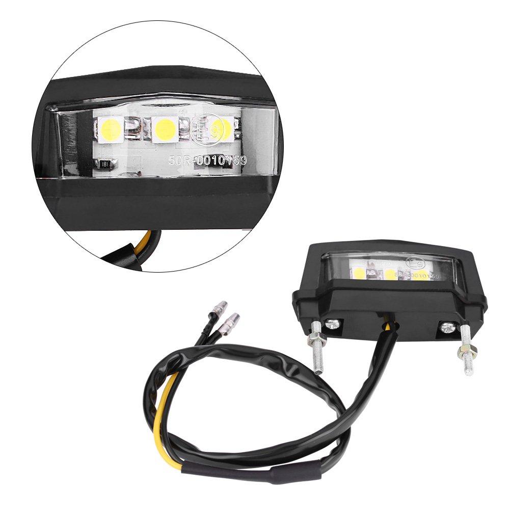 Qiilu Universale 12V LED Lampada Posteriore della Lampada Posteriore della Luce del Piatto per Motociclo del Licenza