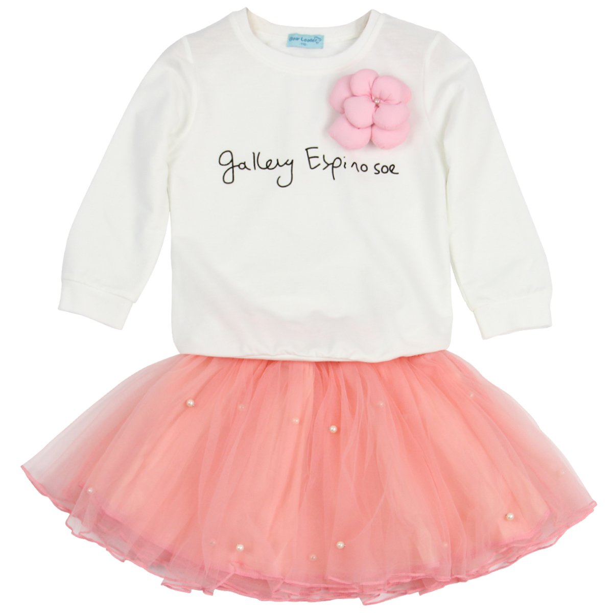 Jastore Kids Girl Cute 2PCS Flower Clothing Set Long Sleeve Top +Pink Tutu Skirt