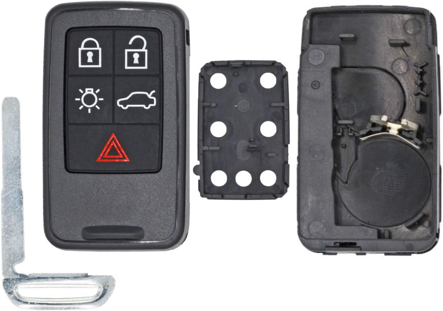 Pack of 2 KeylessOption Keyless Entry Remote Smart Key Fob Case Shell Button Pad Outer Cover For Volvo KR55WK49264