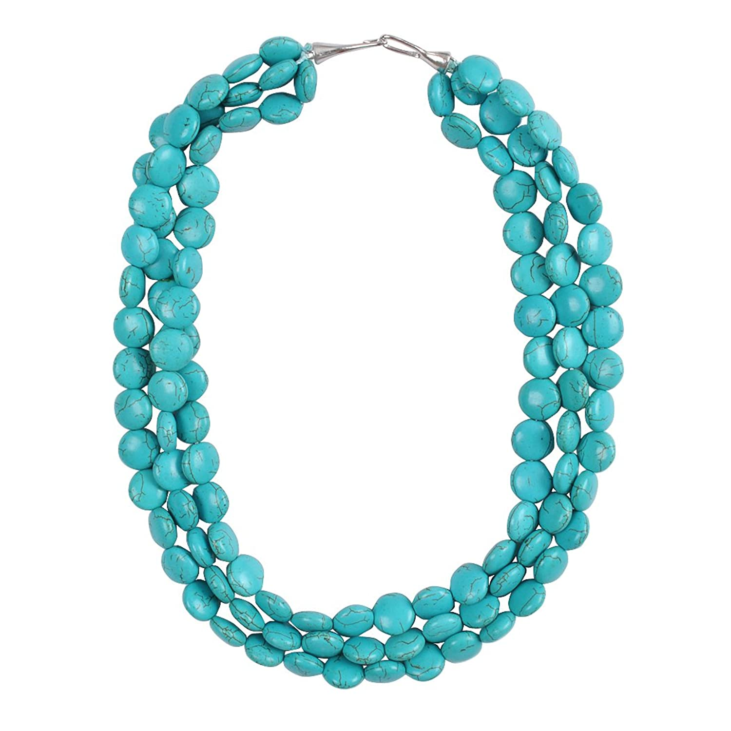 necklace turquoise amazon beads nacklace multi row evening statement round frontal com chunky dp stone fashion bib jane