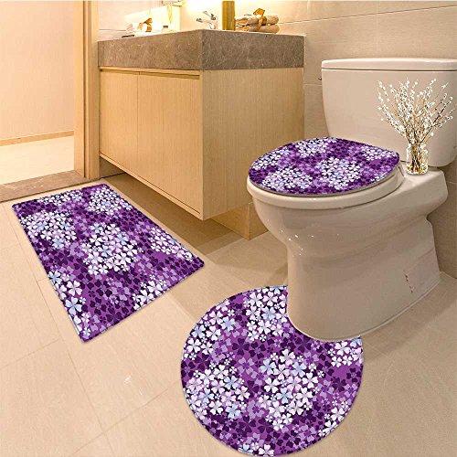 3 Piece Bathroom Rug Set Lilacs llustration Greenery Field Backyard Freshness Hydrangea Artistic Design Extra Extra Soft Memory Foam Combo - Rug, Contour Mat and Lid (Lilacs Yard Design)