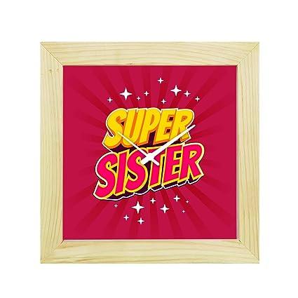 YaYa CafeTM 8x8 Inches Bhaidooj Birthday Gifts For Sister Wall Clock Super Canvas