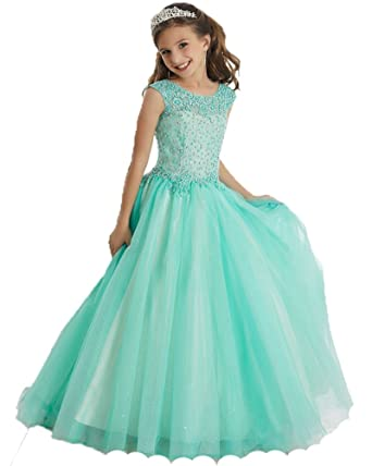 9e2080439 Amazon.com  YongGao Ball Gown Pincess Beaded Tulle Pageant Dresses ...