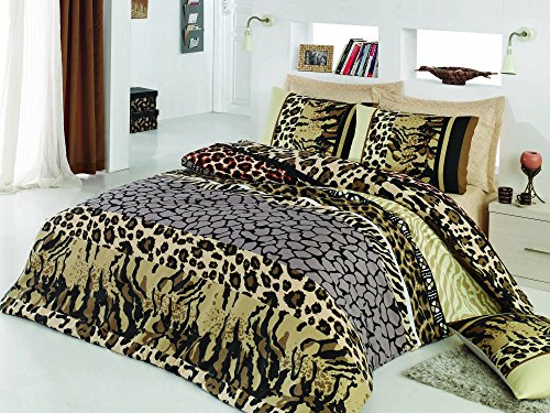 LaModaHome 3 Pcs Luxury Soft Colored Double Quilt Cover Set / 50% Cotton / 50% Polyester Leopard Safari Wild Animal Design Shape Pattern Queen/Full/ Bed