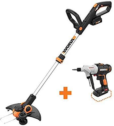 WORX WG163 GT 3.0 20V PowerShare 12 Cordless String Trimmer Edger with Switchdriver 2-in-1 Cordless Drill and Driver Tool Only with Rotating Dual Chucks