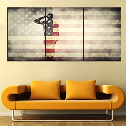 Native American Living Room Decor.Native American Art Wall Decor Usa Flag Paintings 3 Panel Stars Stripes Retro Artwork For Living Room Patriotic Pictures On Canvas House Decoration