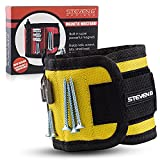 STEVEN G Magnetic Adjustable Size Wristband for Holding Screws, Nails, Drill Bits, Small Tools with 10 Strong Magnets Best Tool Gift for Professional or DIY Handy Man or Woman at Home or Work, Yellow.