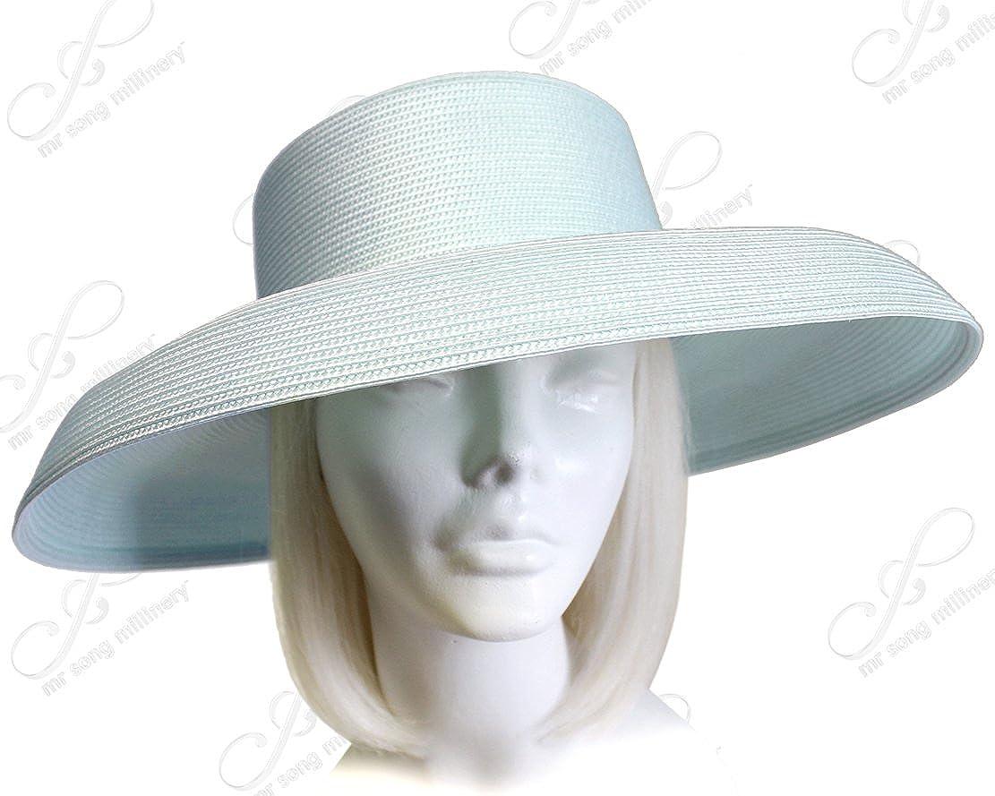 UNTRIMMED HAT ONLY Song Millinery Tagline Straw Wide Structured Brim Hat Body Mr T1058-B