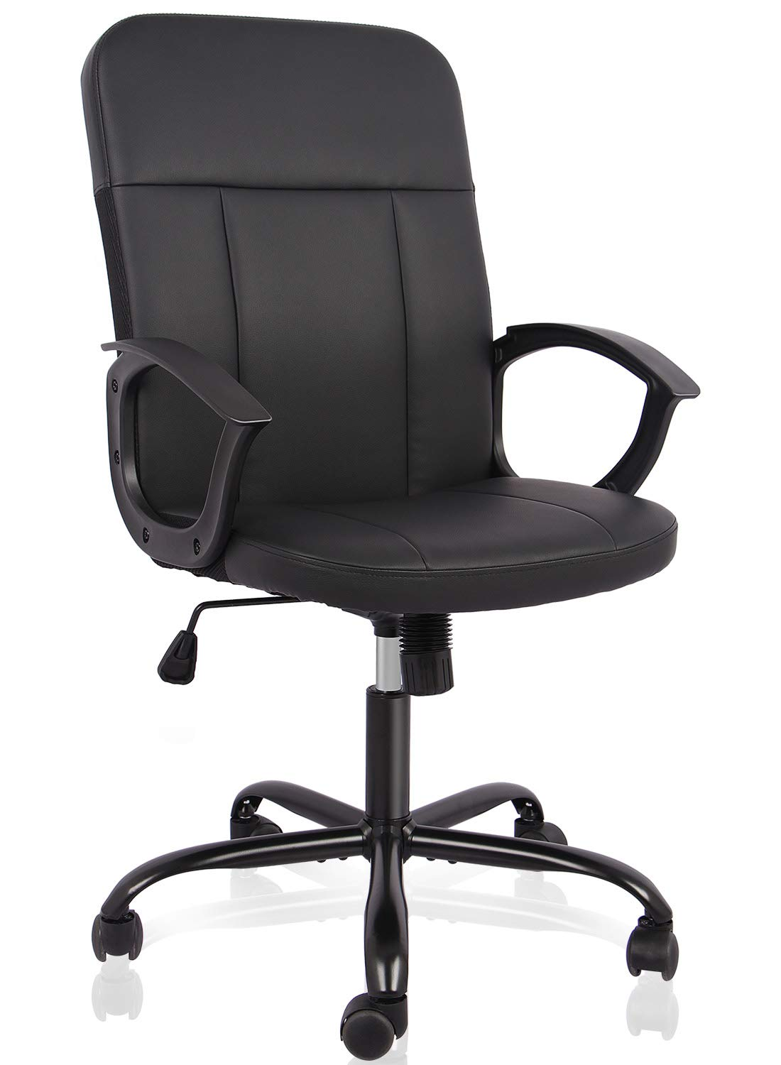 Office Chair,Mid Back Premium Bonded Leather Office Computer Swivel Desk Task Chair, ErgonomicExecutiveChairwith Lumbar Padding and Armrests