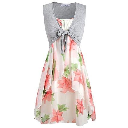 2bc2e626d309 EDTO Women's Summer Short Sleeve V-Neck High Waist Floral Print Mini Flower  Dress with