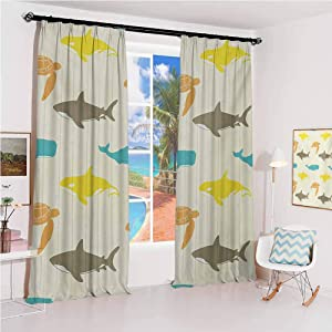 GUUVOR Sea Animals Sunshade Sunscreen Curtain Pattern with Whale Shark and Turtle Aquarium Doodle Style Marine Life Soundproof Shade W100 x L84 Inch Ivory Taupe Peach