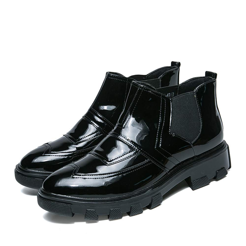 Casual Classic High-top Personality Trend Outsole Patent Leather Brogue Shoes Shufang-shoes Mens Business Oxford Shoes