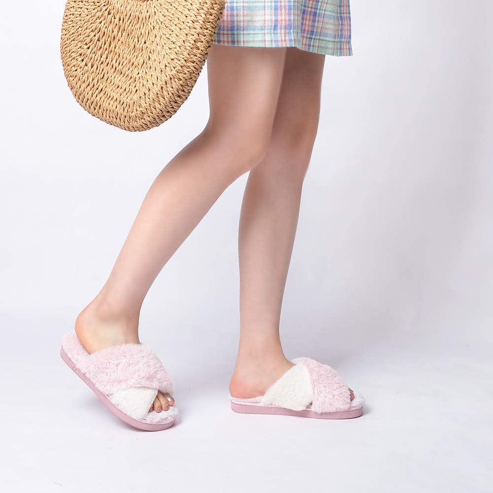 DL Womens Cross Band Soft Plush Slippers Furry Fleece Slip on Slippers Open Toe House Shoes Slides for Indoor Outdoor