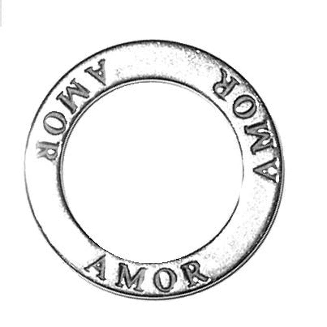 Sterling Silver 30'' Men's 1.5mm Two Sided AMOR (LOVE) Circle Shaped Affirmation Slide Pendant Necklace
