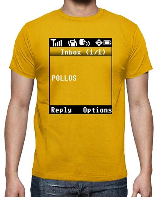 latostadora - Camiseta Breaking Bad - Pollos SMS para Hombre Amarillo Mostaza S