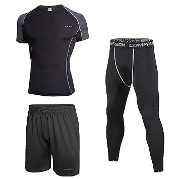 FITIBEST Hombre 2 Piezas Conjunto de Ropa Deportiva Camiseta de Compresión Manga Corta y Pantalones para Running,Fitness,…