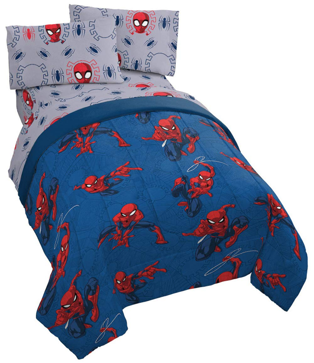 Jay Franco Marvel Spiderman Spidey Crawl Full Comforter - Super Soft Kids Reversible Bedding - Fade Resistant Polyester Microfiber Fill (Official Marvel Product)