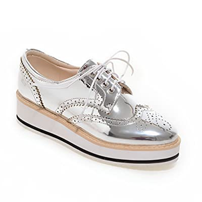AdeeSu Womens Round-Toe No-Closure Patent Leather Spectator Urethane Pumps Shoes SDC03814