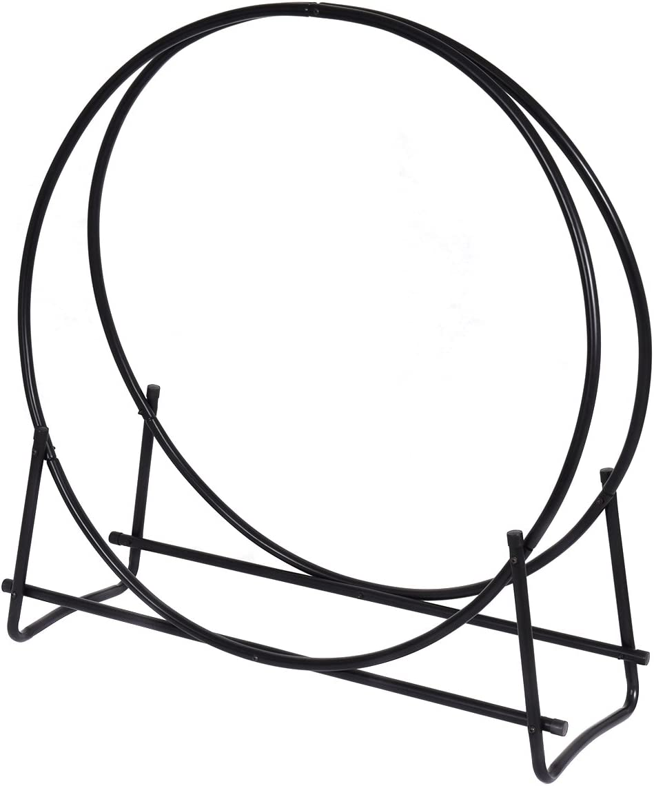 COSTWAY VD-3027OP Firewood Log Rack Hoop Tubular Steel Wood Storage Holder for, Black