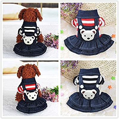 vmree Dog Apparel, Small Pet Dog Cat Puppy Dress Strap Denim Skirt Clothes Apparels