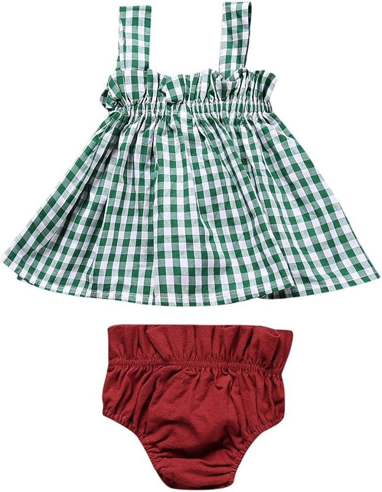 Summer Baby Girl Plaid Sleeveless Tops+Shorts 2Pcs Outfits Set