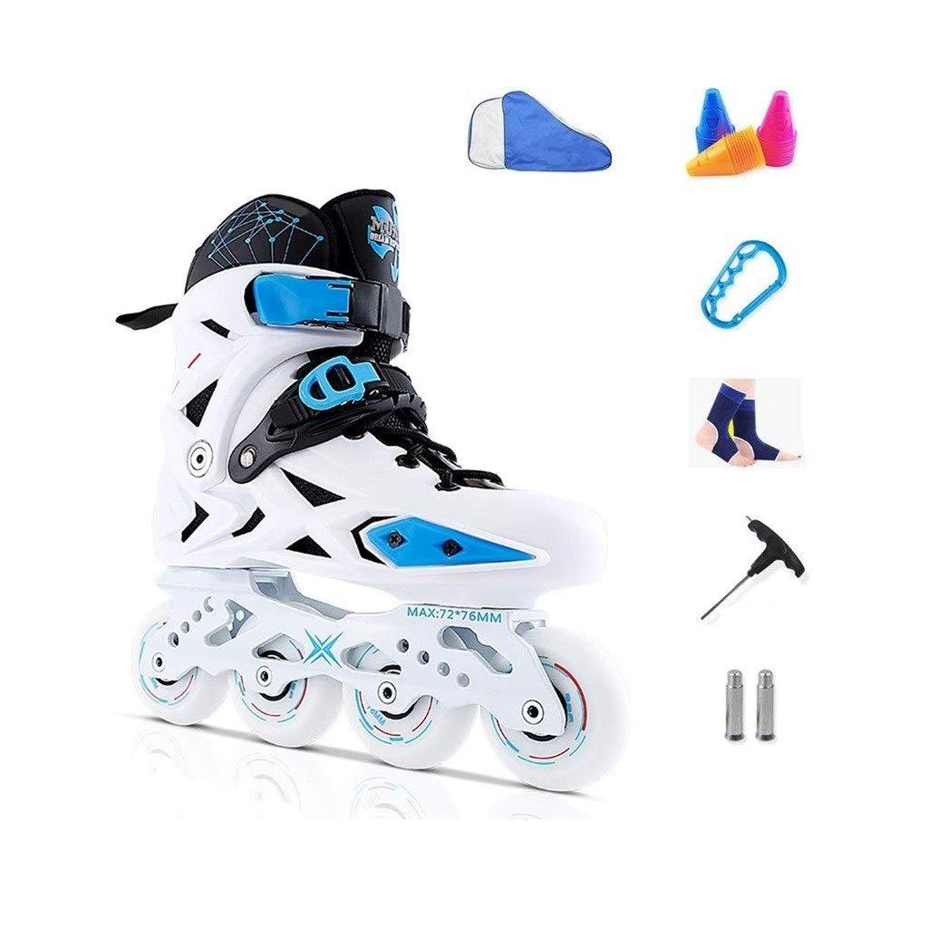 XDSAインラインスケート インラインスケート、男性と女性の単列スケート、成人初心者スケート、初心者、男性と女性のローラースケート、黒と白 (Color : 白い, Size : 41 EU)