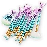 11 PCS Mermaid Makeup Brushes Set Fish Tail Foundation Eyeshadow Eyeliner Blush Cosmetic Brush