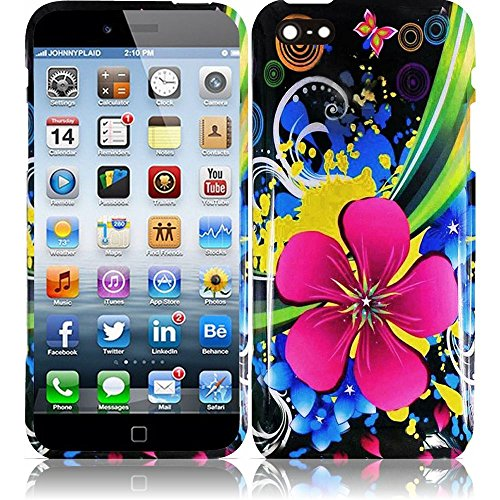 """MEGATRONIC Colorful Eternal Flower Design Rubberized Hard Snap on Two Piece Case Skin Cover for Apple Iphone 6 4.7 4.7"""" W/ Free Stylus"""